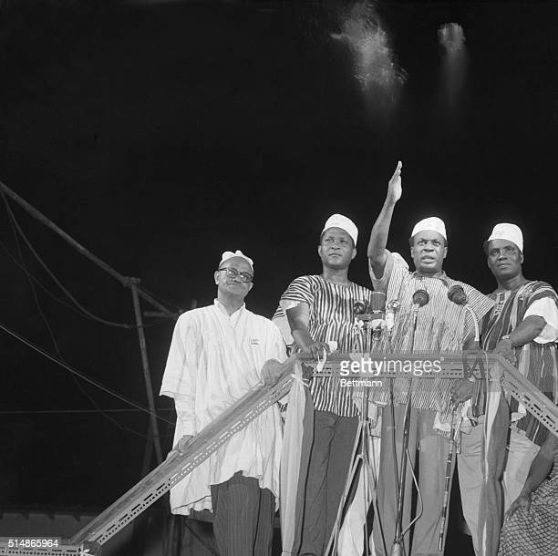 Prime Minister Kwame Nkrumah waves to the celebrating crowd after the British colony known as the Gold Coast ceased to exist and the sovereign state...