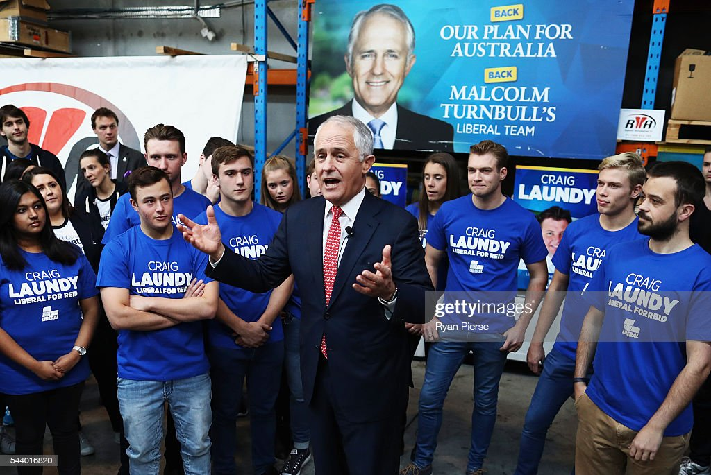 Prime Minister <a gi-track='captionPersonalityLinkClicked' href=/galleries/search?phrase=Malcolm+Turnbull&family=editorial&specificpeople=2125595 ng-click='$event.stopPropagation()'>Malcolm Turnbull</a> addresses Robotic Automation in Newington as he campaigns in the electorate of Reid on July 1, 2016 in Sydney, Australia.