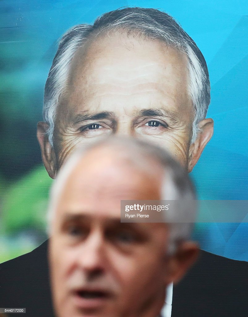 Prime Minister Malcolm Turnbull addresses supporters at Robotic Automation in Newington as he campaigns in the electorate of Reid on July 1, 2016 in Sydney, Australia.