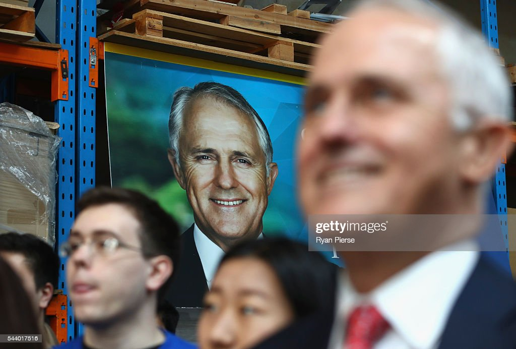Prime Minister <a gi-track='captionPersonalityLinkClicked' href=/galleries/search?phrase=Malcolm+Turnbull&family=editorial&specificpeople=2125595 ng-click='$event.stopPropagation()'>Malcolm Turnbull</a> addresses supporters at Robotic Automation in Newington as he campaigns in the electorate of Reid on July 1, 2016 in Sydney, Australia.
