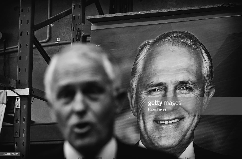 This image was processed using digital filters) Prime Minister <a gi-track='captionPersonalityLinkClicked' href=/galleries/search?phrase=Malcolm+Turnbull&family=editorial&specificpeople=2125595 ng-click='$event.stopPropagation()'>Malcolm Turnbull</a> addresses supporters at Robotic Automation in Newington as he campaigns in the electorate of Reid on July 1, 2016 in Sydney, Australia.