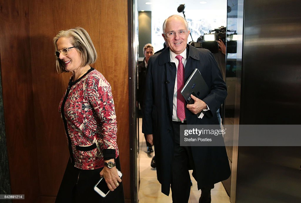 Prime Minister <a gi-track='captionPersonalityLinkClicked' href=/galleries/search?phrase=Malcolm+Turnbull&family=editorial&specificpeople=2125595 ng-click='$event.stopPropagation()'>Malcolm Turnbull</a> and and wife <a gi-track='captionPersonalityLinkClicked' href=/galleries/search?phrase=Lucy+Turnbull&family=editorial&specificpeople=240445 ng-click='$event.stopPropagation()'>Lucy Turnbull</a> arrive for a joint press conference with Treasurer Scott Morrison on June 25, 2016 in Sydney, Australia. British citizens voted in a referendum (also known as the Brexit) to leave the European Union which has caused uncertainty across the world. Within hours of the result being announced the ASX lost almost A$50 billion before trading closed on Friday.