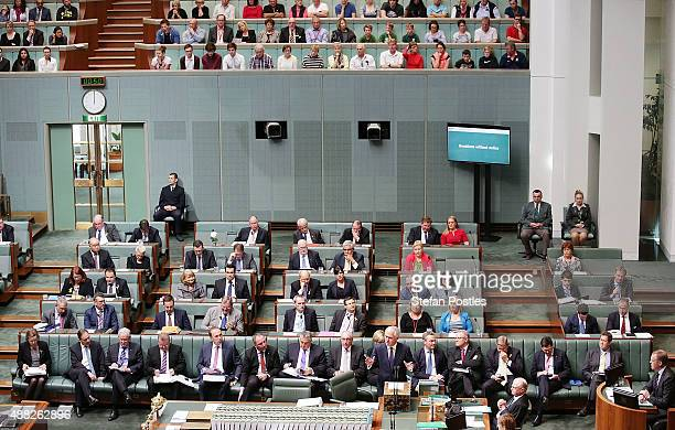 Prime Minister Malcolm Turnbull and his front bench during House of Representatives question time at Parliament House on September 15 2015 in...