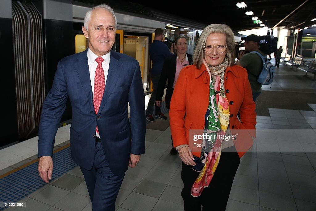 Prime Minister <a gi-track='captionPersonalityLinkClicked' href=/galleries/search?phrase=Malcolm+Turnbull&family=editorial&specificpeople=2125595 ng-click='$event.stopPropagation()'>Malcolm Turnbull</a> and his wife <a gi-track='captionPersonalityLinkClicked' href=/galleries/search?phrase=Lucy+Turnbull&family=editorial&specificpeople=240445 ng-click='$event.stopPropagation()'>Lucy Turnbull</a> arrive at Hurstville Station as he campaigns in the electorate of Barton on June 29, 2016 in Sydney, Australia. The Liberal Party given $40,000 in campaign funds to charity after the party inappropriately used <a gi-track='captionPersonalityLinkClicked' href=/galleries/search?phrase=Lucy+Turnbull&family=editorial&specificpeople=240445 ng-click='$event.stopPropagation()'>Lucy Turnbull</a>'s position as the head of a NSW Government planning body to promote two fundraisers in Sydney. Mrs Turnbull believed she had been invited as the Prime Minister's wife.