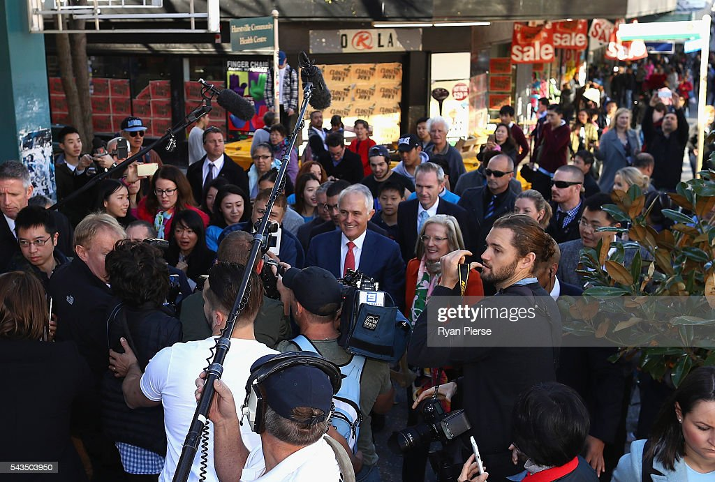 Prime Minister <a gi-track='captionPersonalityLinkClicked' href=/galleries/search?phrase=Malcolm+Turnbull&family=editorial&specificpeople=2125595 ng-click='$event.stopPropagation()'>Malcolm Turnbull</a> and his wife <a gi-track='captionPersonalityLinkClicked' href=/galleries/search?phrase=Lucy+Turnbull&family=editorial&specificpeople=240445 ng-click='$event.stopPropagation()'>Lucy Turnbull</a> arrive at Hurstville Station as he campaigns in Barton on June 29, 2016 in Sydney, Australia.