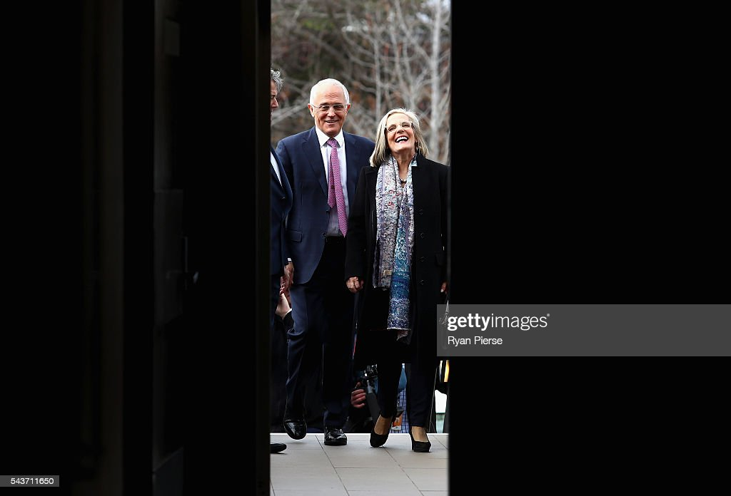 Prime Minister <a gi-track='captionPersonalityLinkClicked' href=/galleries/search?phrase=Malcolm+Turnbull&family=editorial&specificpeople=2125595 ng-click='$event.stopPropagation()'>Malcolm Turnbull</a> and his wife <a gi-track='captionPersonalityLinkClicked' href=/galleries/search?phrase=Lucy+Turnbull&family=editorial&specificpeople=240445 ng-click='$event.stopPropagation()'>Lucy Turnbull</a> arrive to delivers his election address to the National Press Club on June 30, 2016 in Canberra, Australia. The Prime Minister's speech focused heavily on the economy, with <a gi-track='captionPersonalityLinkClicked' href=/galleries/search?phrase=Malcolm+Turnbull&family=editorial&specificpeople=2125595 ng-click='$event.stopPropagation()'>Malcolm Turnbull</a> committing to stick to the Government's economic plan, grow the economy and create jobs should he win the election on Saturday July 2.