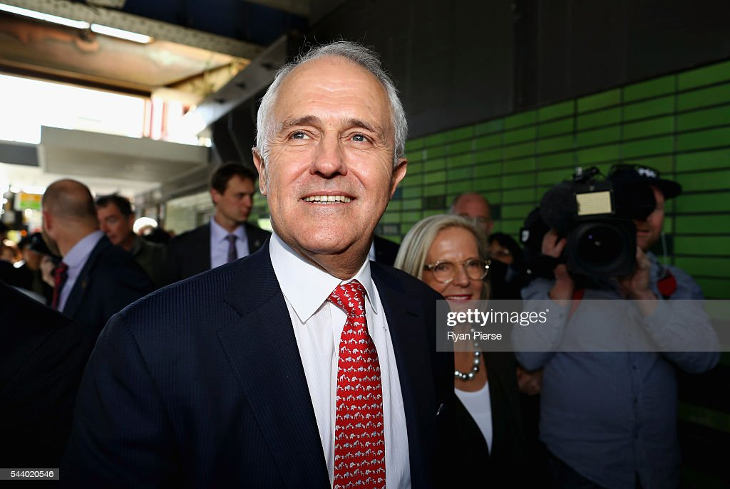 Prime Minister <a gi-track='captionPersonalityLinkClicked' href=/galleries/search?phrase=Malcolm+Turnbull&family=editorial&specificpeople=2125595 ng-click='$event.stopPropagation()'>Malcolm Turnbull</a> and his wife <a gi-track='captionPersonalityLinkClicked' href=/galleries/search?phrase=Lucy+Turnbull&family=editorial&specificpeople=240445 ng-click='$event.stopPropagation()'>Lucy Turnbull</a> meet voters in Burwood as he campaigns in the electorate of Reid on July 1, 2016 in Sydney, Australia.