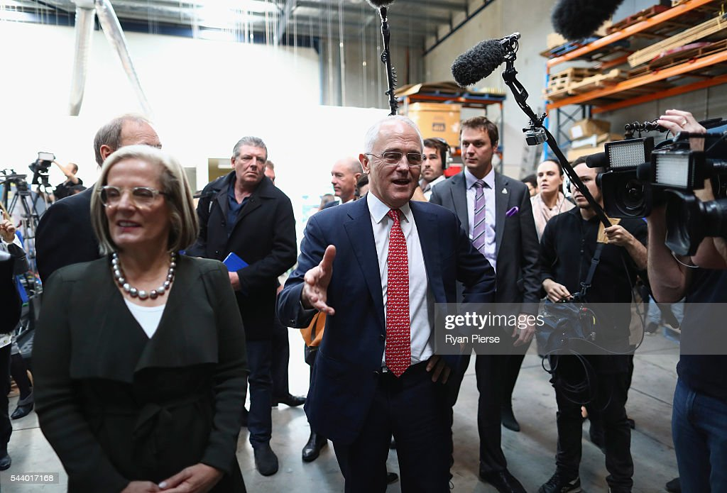 Prime Minister Malcolm Turnbull and his wife Lucy Turnbull visit Robotic Automation in Newington as he campaigns in the electorate of Reid on July 1, 2016 in Sydney, Australia.
