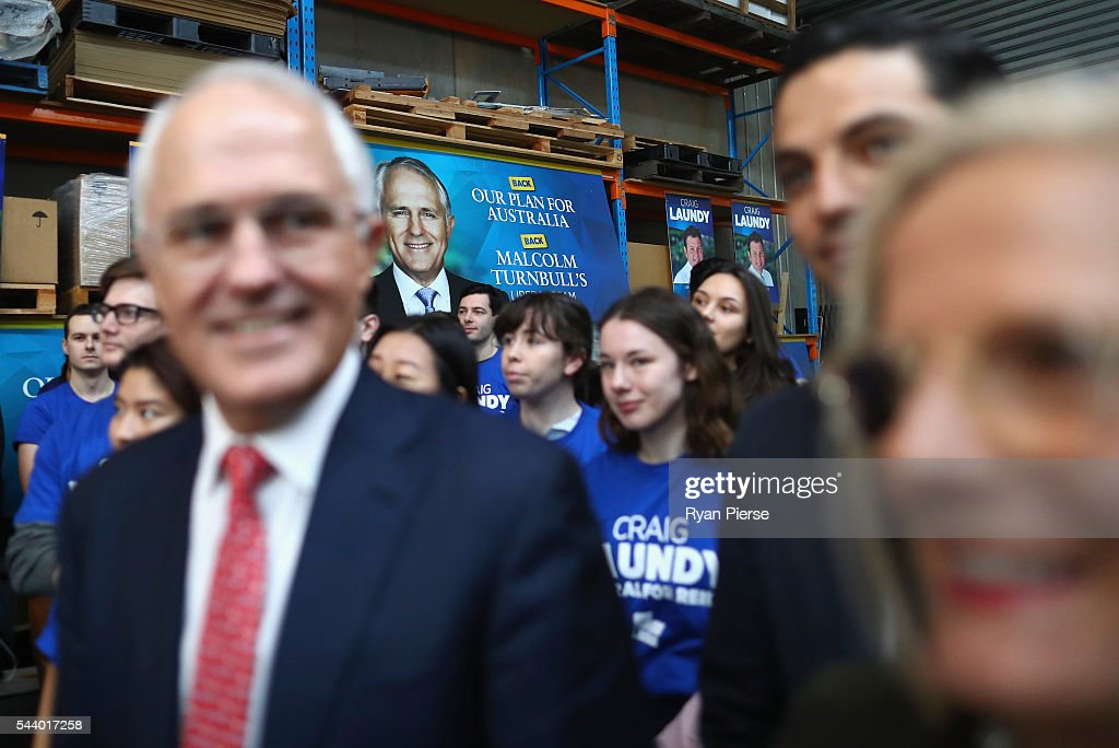 Prime Minister <a gi-track='captionPersonalityLinkClicked' href=/galleries/search?phrase=Malcolm+Turnbull&family=editorial&specificpeople=2125595 ng-click='$event.stopPropagation()'>Malcolm Turnbull</a> and his wife <a gi-track='captionPersonalityLinkClicked' href=/galleries/search?phrase=Lucy+Turnbull&family=editorial&specificpeople=240445 ng-click='$event.stopPropagation()'>Lucy Turnbull</a> visit Robotic Automation in Newington as he campaigns in the electorate of Reid on July 1, 2016 in Sydney, Australia.