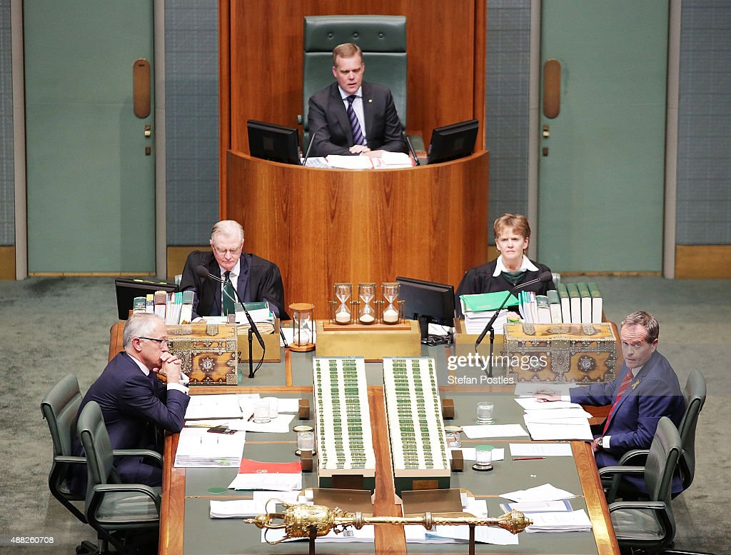 Prime Minister Malcolm Turnbull and Leader of the Opposition Bill Shorten sit opposite each other during House of Representatives question time at Parliament House on September 15, 2015 in Canberra, Australia. Malcolm Turnbull will become the 29th Prime Minister of Australia after he defeated Tony Abbott 54 votes to 44 in a snap leadership ballot on Monday night. Julie Bishop remains deputy leader of the Liberal party following the spill.