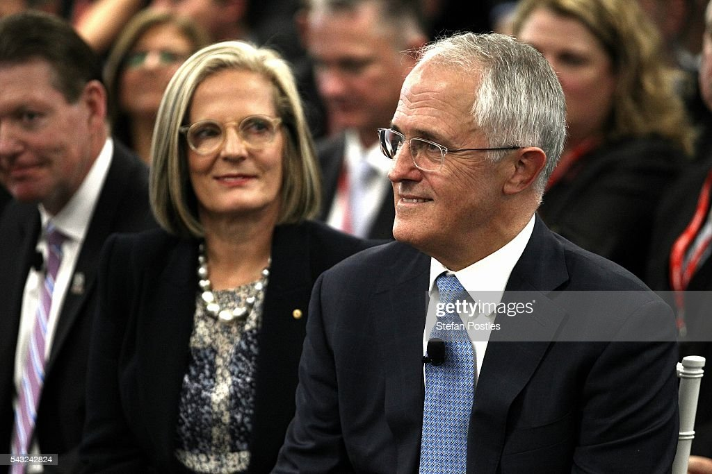 Prime Minister <a gi-track='captionPersonalityLinkClicked' href=/galleries/search?phrase=Malcolm+Turnbull&family=editorial&specificpeople=2125595 ng-click='$event.stopPropagation()'>Malcolm Turnbull</a> and <a gi-track='captionPersonalityLinkClicked' href=/galleries/search?phrase=Lucy+Turnbull&family=editorial&specificpeople=240445 ng-click='$event.stopPropagation()'>Lucy Turnbull</a> listen to speeches on June 27, 2016 in Adelaide, Australia. The Prime Minister opened defence contractor Raytheon's new naval and integration headquarters.