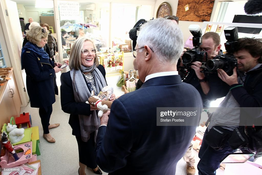 Prime Minister <a gi-track='captionPersonalityLinkClicked' href=/galleries/search?phrase=Malcolm+Turnbull&family=editorial&specificpeople=2125595 ng-click='$event.stopPropagation()'>Malcolm Turnbull</a> and <a gi-track='captionPersonalityLinkClicked' href=/galleries/search?phrase=Lucy+Turnbull&family=editorial&specificpeople=240445 ng-click='$event.stopPropagation()'>Lucy Turnbull</a> shop for a gift for their grandson Jack in a craft shop in Glenelg on June 27, 2016 in Adelaide, Australia. The Prime Minister opened defence contractor Raytheon's new naval and integration headquarters.