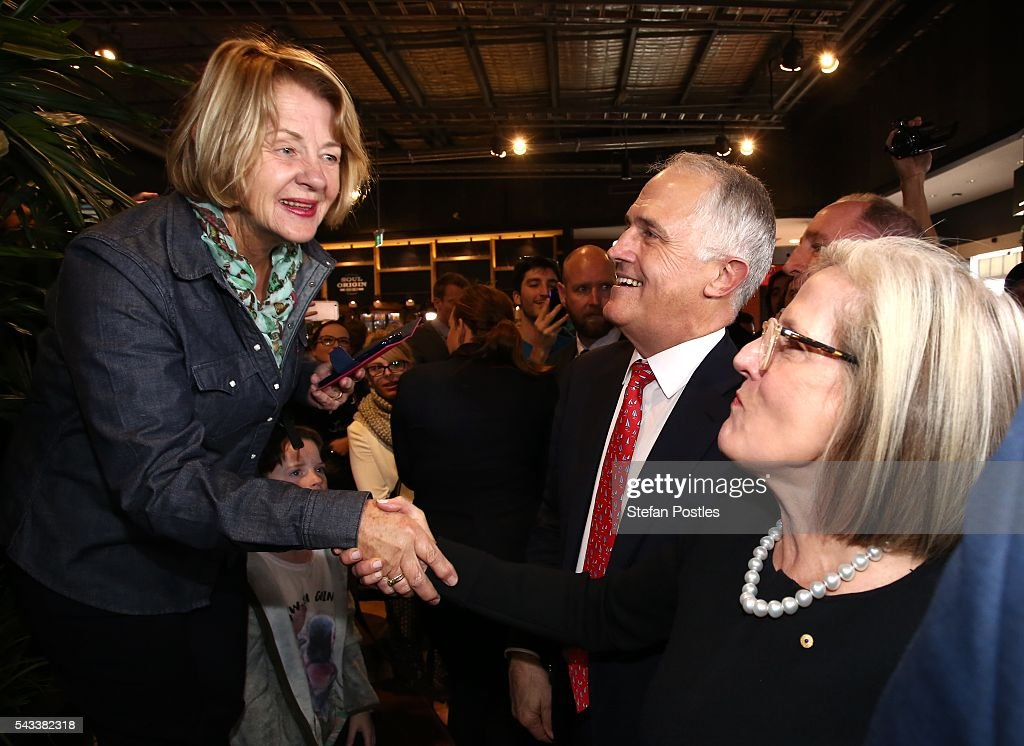Prime Minister <a gi-track='captionPersonalityLinkClicked' href=/galleries/search?phrase=Malcolm+Turnbull&family=editorial&specificpeople=2125595 ng-click='$event.stopPropagation()'>Malcolm Turnbull</a> and <a gi-track='captionPersonalityLinkClicked' href=/galleries/search?phrase=Lucy+Turnbull&family=editorial&specificpeople=240445 ng-click='$event.stopPropagation()'>Lucy Turnbull</a> speak to members of the public at Westfield North Lakes on June 28, 2016 in Brisbane, Australia. Treasurer Scott Morrison will release the Coalition's costings this afternoon.