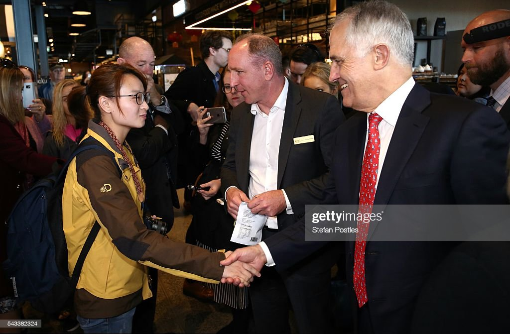 Prime Minister <a gi-track='captionPersonalityLinkClicked' href=/galleries/search?phrase=Malcolm+Turnbull&family=editorial&specificpeople=2125595 ng-click='$event.stopPropagation()'>Malcolm Turnbull</a> and Lucy Turnbull speak to members of the public at Westfield North Lakes on June 28, 2016 in Brisbane, Australia. Treasurer Scott Morrison will release the Coalition's costings this afternoon.