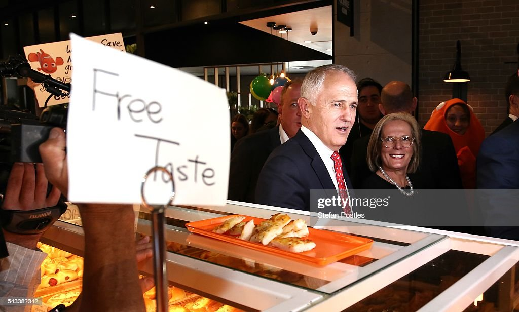 Prime Minister <a gi-track='captionPersonalityLinkClicked' href=/galleries/search?phrase=Malcolm+Turnbull&family=editorial&specificpeople=2125595 ng-click='$event.stopPropagation()'>Malcolm Turnbull</a> and Lucy Turnbull walk around at Westfield North Lakes on June 28, 2016 in Brisbane, Australia. Treasurer Scott Morrison will release the Coalition's costings this afternoon.