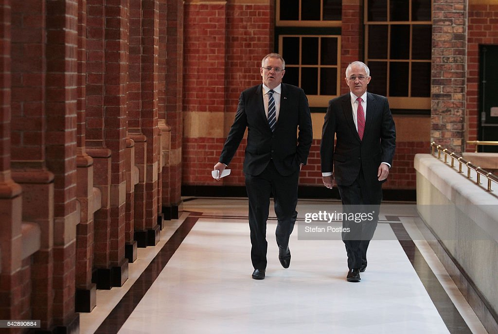 Prime Minister <a gi-track='captionPersonalityLinkClicked' href=/galleries/search?phrase=Malcolm+Turnbull&family=editorial&specificpeople=2125595 ng-click='$event.stopPropagation()'>Malcolm Turnbull</a> and Treasurer <a gi-track='captionPersonalityLinkClicked' href=/galleries/search?phrase=Scott+Morrison+-+Politician&family=editorial&specificpeople=15789813 ng-click='$event.stopPropagation()'>Scott Morrison</a> arrive at a joint press conference on June 25, 2016 in Sydney, Australia. British citizens voted in a referendum (also known as the Brexit) to leave the European Union which has caused uncertainty across the world. Within hours of the result being announced the ASX lost almost A$50 billion before trading closed on Friday.