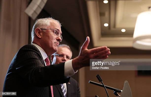 Prime Minister Malcolm Turnbull and Treasurer Scott Morrison speak to the media during a joint press conference on June 25 2016 in Sydney Australia...
