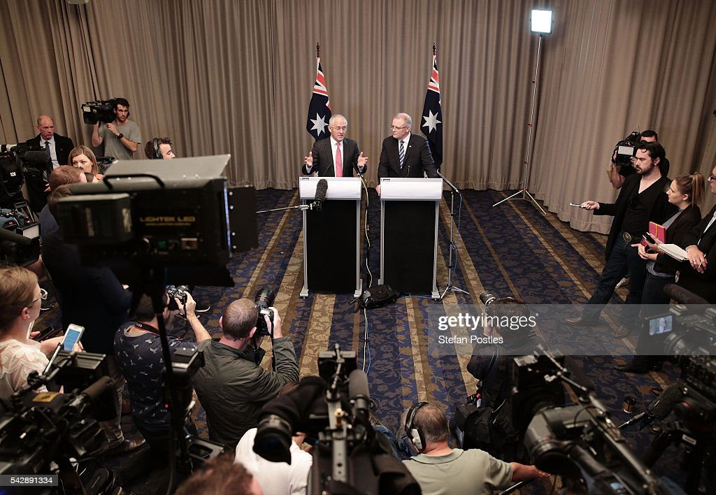 Prime Minister <a gi-track='captionPersonalityLinkClicked' href=/galleries/search?phrase=Malcolm+Turnbull&family=editorial&specificpeople=2125595 ng-click='$event.stopPropagation()'>Malcolm Turnbull</a> and Treasurer <a gi-track='captionPersonalityLinkClicked' href=/galleries/search?phrase=Scott+Morrison+-+Politician&family=editorial&specificpeople=15789813 ng-click='$event.stopPropagation()'>Scott Morrison</a> speak to the media during a joint press conference on June 25, 2016 in Sydney, Australia. British citizens voted in a referendum (also known as the Brexit) to leave the European Union which has caused uncertainty across the world. Within hours of the result being announced the ASX lost almost A$50 billion before trading closed on Friday.