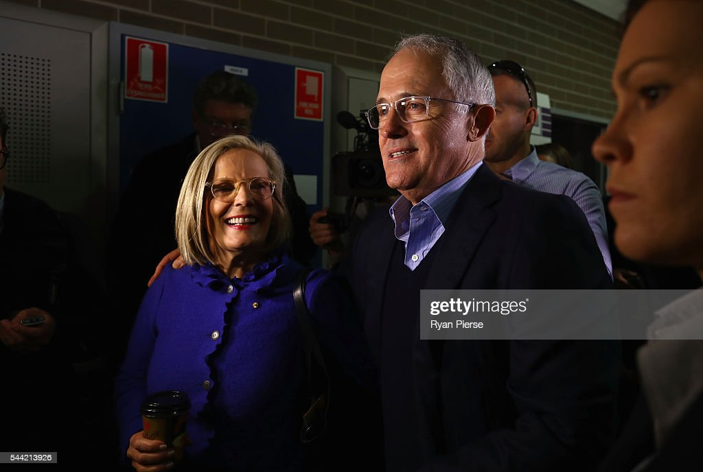Prime Minister <a gi-track='captionPersonalityLinkClicked' href=/galleries/search?phrase=Malcolm+Turnbull&family=editorial&specificpeople=2125595 ng-click='$event.stopPropagation()'>Malcolm Turnbull</a> and wife <a gi-track='captionPersonalityLinkClicked' href=/galleries/search?phrase=Lucy+Turnbull&family=editorial&specificpeople=240445 ng-click='$event.stopPropagation()'>Lucy Turnbull</a> arrive to vote in Double Bay in their own electorate of Wentworth on July 2, 2016 in Sydney, Australia. After 8 official weeks of campaigning, incumbent Prime Minister and Liberal party leader, <a gi-track='captionPersonalityLinkClicked' href=/galleries/search?phrase=Malcolm+Turnbull&family=editorial&specificpeople=2125595 ng-click='$event.stopPropagation()'>Malcolm Turnbull</a> will cast his vote and await results as Australians head to the polls to elect the 45th Parliament.