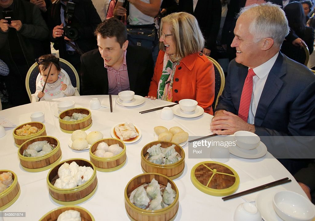 Prime Minister <a gi-track='captionPersonalityLinkClicked' href=/galleries/search?phrase=Malcolm+Turnbull&family=editorial&specificpeople=2125595 ng-click='$event.stopPropagation()'>Malcolm Turnbull</a> and wife <a gi-track='captionPersonalityLinkClicked' href=/galleries/search?phrase=Lucy+Turnbull&family=editorial&specificpeople=240445 ng-click='$event.stopPropagation()'>Lucy Turnbull</a> enjoy lunch with their son Alex and granddaughter Isla at the Sunny Harbour Yum Cha restaurant on June 29, 2016 in Sydney, Australia. The Liberal Party given $40,000 in campaign funds to charity after the party inappropriately used <a gi-track='captionPersonalityLinkClicked' href=/galleries/search?phrase=Lucy+Turnbull&family=editorial&specificpeople=240445 ng-click='$event.stopPropagation()'>Lucy Turnbull</a>'s position as the head of a NSW Government planning body to promote two fundraisers in Sydney. Mrs Turnbull believed she had been invited as the Prime Minister's wife.