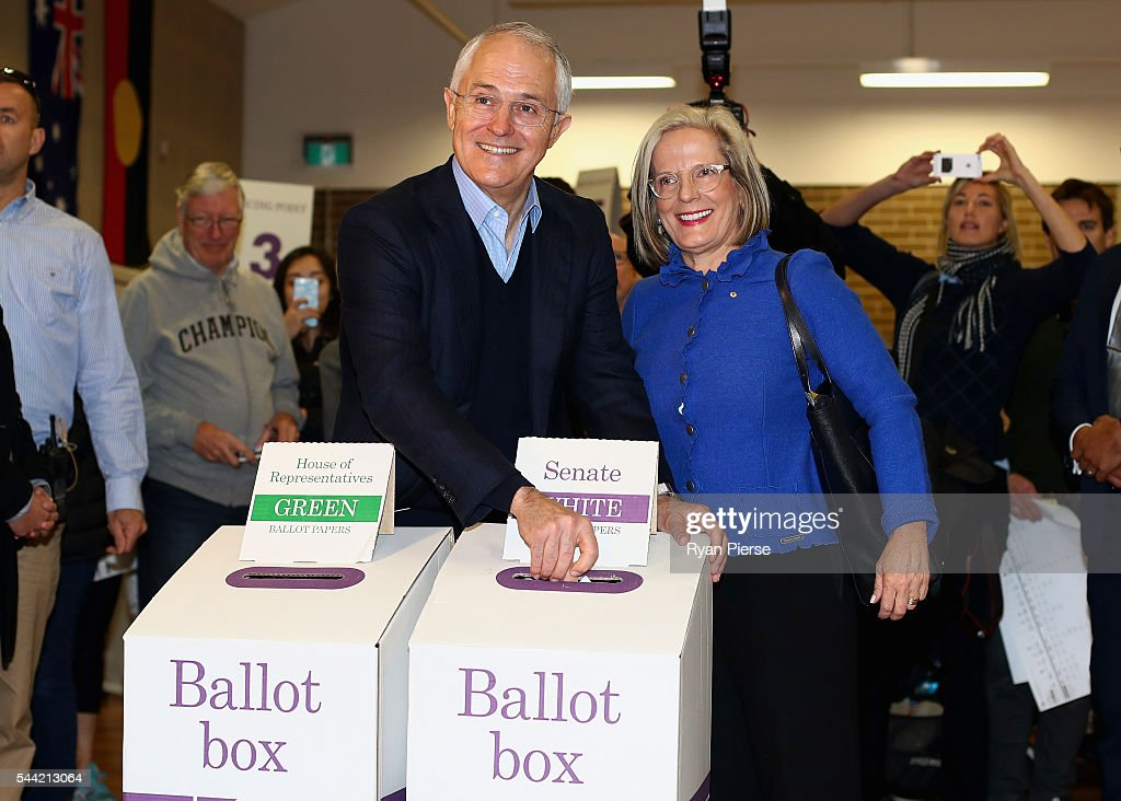 Prime Minister Malcolm Turnbull and wife Lucy Turnbull vote in Double Bay in their own electorate of Wentworth on July 2, 2016 in Sydney, Australia. After 8 official weeks of campaigning, incumbent Prime Minister and Liberal party leader, Malcolm Turnbull will cast his vote and await results as Australians head to the polls to elect the 45th Parliament.