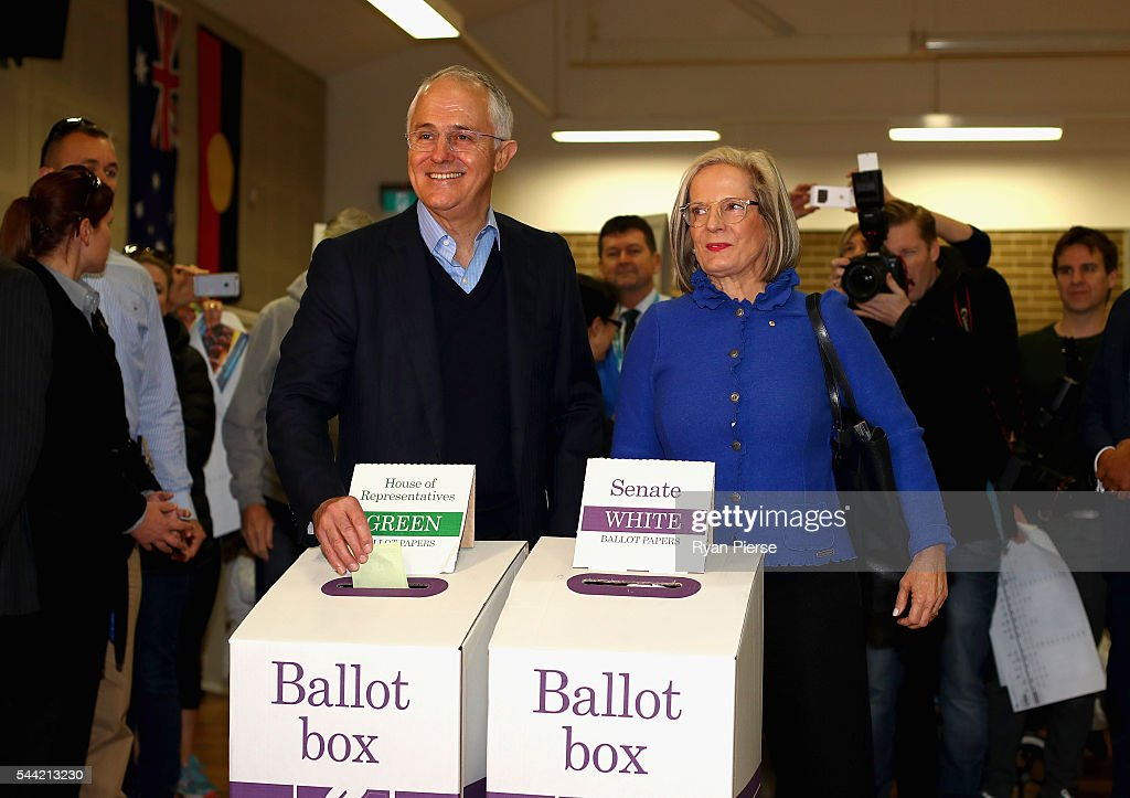 Prime Minister <a gi-track='captionPersonalityLinkClicked' href=/galleries/search?phrase=Malcolm+Turnbull&family=editorial&specificpeople=2125595 ng-click='$event.stopPropagation()'>Malcolm Turnbull</a> and wife <a gi-track='captionPersonalityLinkClicked' href=/galleries/search?phrase=Lucy+Turnbull&family=editorial&specificpeople=240445 ng-click='$event.stopPropagation()'>Lucy Turnbull</a> vote in Double Bay in their own electorate of Wentworth on July 2, 2016 in Sydney, Australia. After 8 official weeks of campaigning, incumbent Prime Minister and Liberal party leader, <a gi-track='captionPersonalityLinkClicked' href=/galleries/search?phrase=Malcolm+Turnbull&family=editorial&specificpeople=2125595 ng-click='$event.stopPropagation()'>Malcolm Turnbull</a> will cast his vote and await results as Australians head to the polls to elect the 45th Parliament.