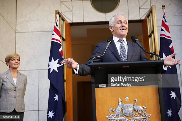 Prime Minister Malcolm Turnbull announces his Ministry during a press conference at Parliament House on September 20 2015 in Canberra Australia...