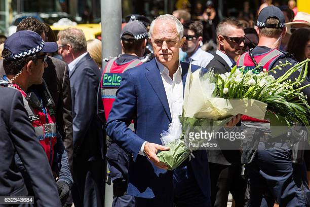 Prime Minister Malcolm Turnbull appeared at Melbourne GPO where People flocked to lay floral tributes and mourn for the victims of the Bourke Street...