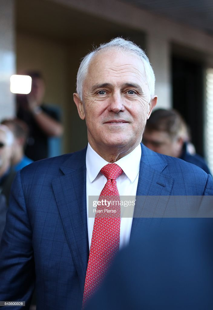 Prime Minister <a gi-track='captionPersonalityLinkClicked' href=/galleries/search?phrase=Malcolm+Turnbull&family=editorial&specificpeople=2125595 ng-click='$event.stopPropagation()'>Malcolm Turnbull</a> arrives at Hurstville Station as he campaigns in the electorate of Barton on June 29, 2016 in Sydney, Australia. The Liberal Party given $40,000 in campaign funds to charity after the party inappropriately used Lucy Turnbull's position as the head of a NSW Government planning body to promote two fundraisers in Sydney. Mrs Turnbull believed she had been invited as the Prime Minister's wife.
