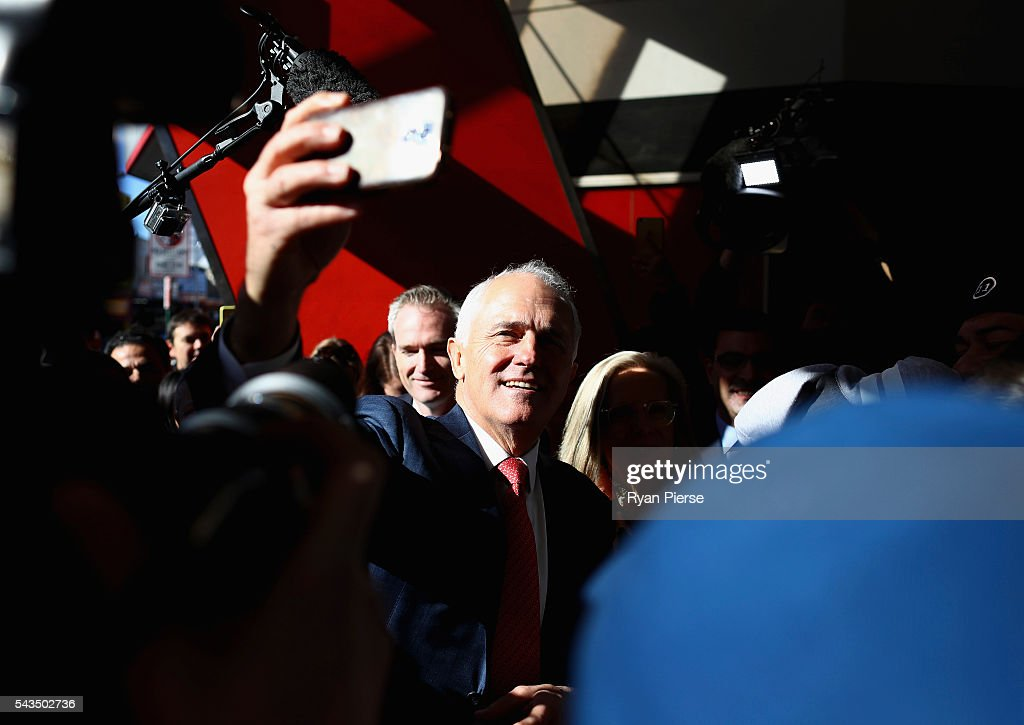 Prime Minister Malcolm Turnbull arrives at Hurstville Station as he campaigns in Barton on June 29, 2016 in Sydney, Australia.