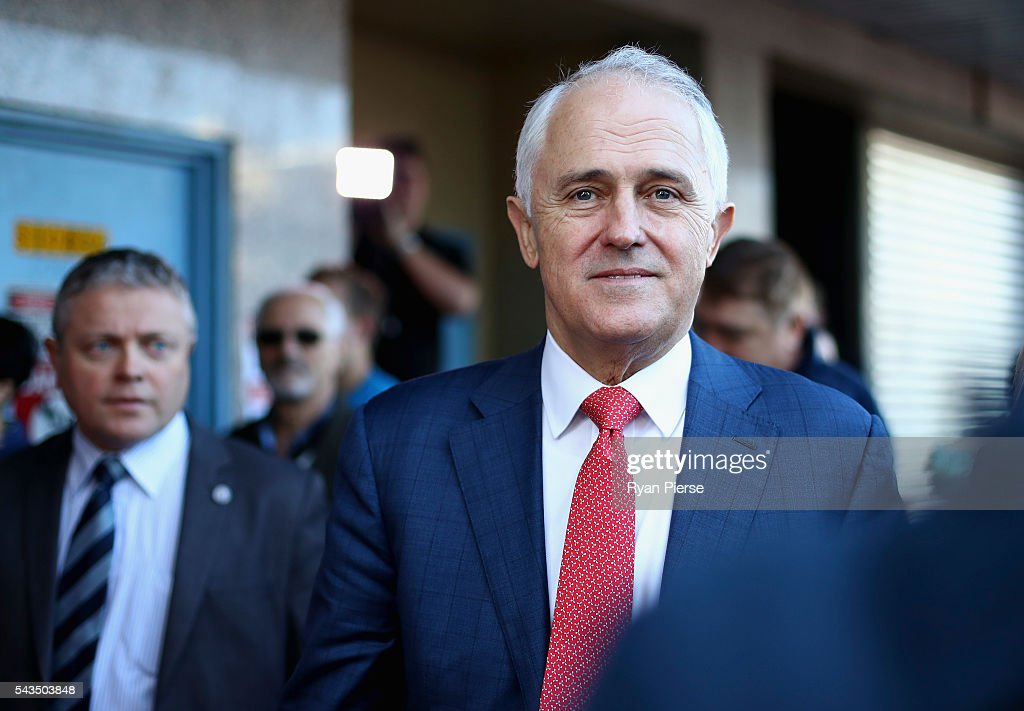 Prime Minister <a gi-track='captionPersonalityLinkClicked' href=/galleries/search?phrase=Malcolm+Turnbull&family=editorial&specificpeople=2125595 ng-click='$event.stopPropagation()'>Malcolm Turnbull</a> arrives at Hurstville Station as he campaigns in Barton on June 29, 2016 in Sydney, Australia.