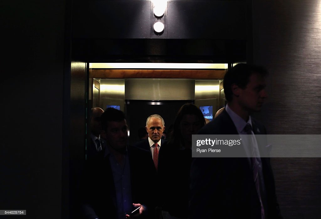 Prime Minister <a gi-track='captionPersonalityLinkClicked' href=/galleries/search?phrase=Malcolm+Turnbull&family=editorial&specificpeople=2125595 ng-click='$event.stopPropagation()'>Malcolm Turnbull</a> arrives for a press conference at the Sofitel Wentworth on July 1, 2016 in Sydney, Australia.