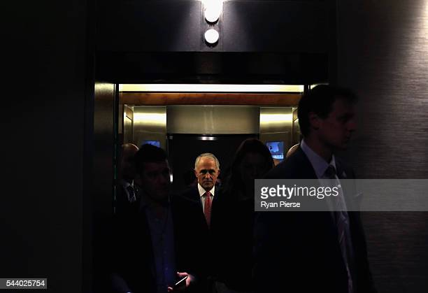 Prime Minister Malcolm Turnbull arrives for a press conference at the Sofitel Wentworth on July 1 2016 in Sydney Australia