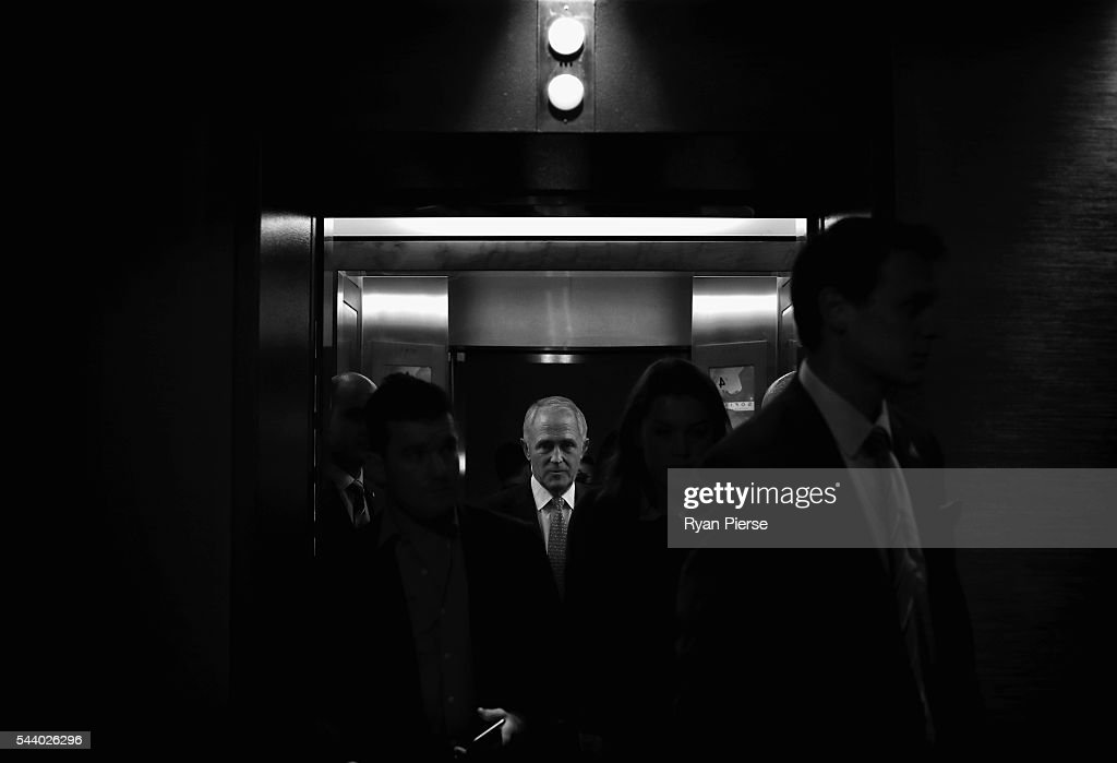 This image was processed using digital filters) Prime Minister <a gi-track='captionPersonalityLinkClicked' href=/galleries/search?phrase=Malcolm+Turnbull&family=editorial&specificpeople=2125595 ng-click='$event.stopPropagation()'>Malcolm Turnbull</a> arrives for a press conference at the Sofitel Wentworth on July 1, 2016 in Sydney, Australia.