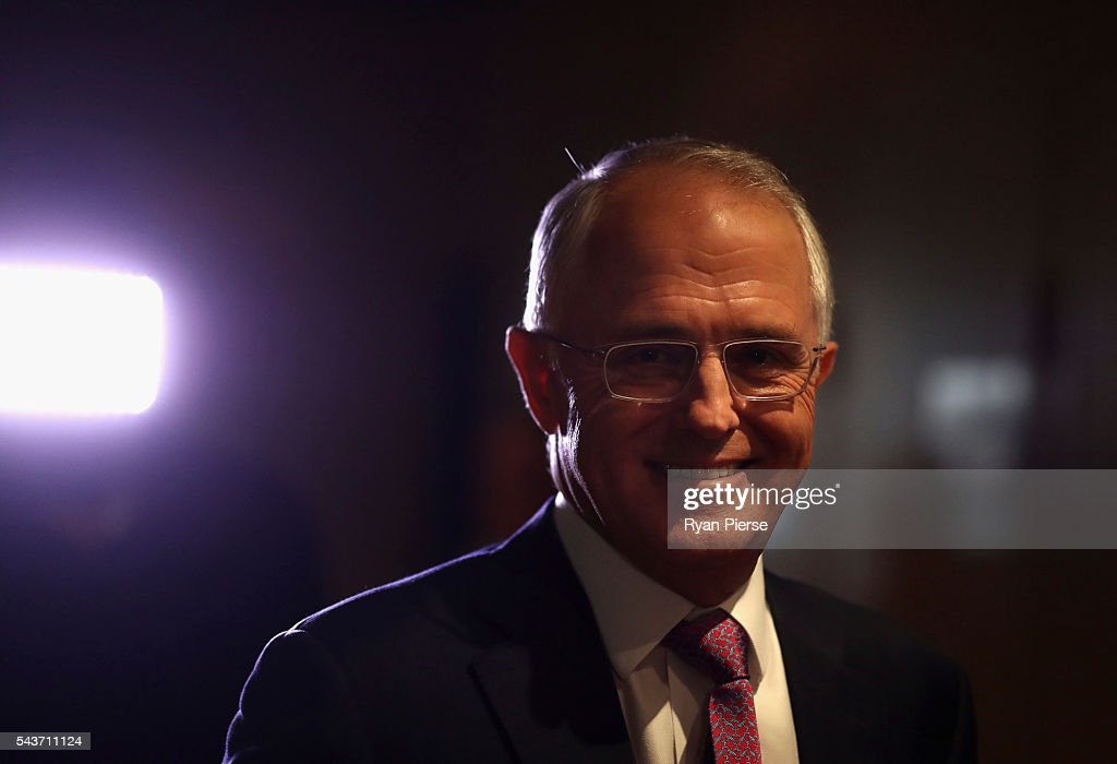 Prime Minister <a gi-track='captionPersonalityLinkClicked' href=/galleries/search?phrase=Malcolm+Turnbull&family=editorial&specificpeople=2125595 ng-click='$event.stopPropagation()'>Malcolm Turnbull</a> arrives to delivershis election address to the National Press Club on June 30, 2016 in Canberra, Australia. The Prime Minister's speech focused heavily on the economy, with <a gi-track='captionPersonalityLinkClicked' href=/galleries/search?phrase=Malcolm+Turnbull&family=editorial&specificpeople=2125595 ng-click='$event.stopPropagation()'>Malcolm Turnbull</a> committing to stick to the Government's economic plan, grow the economy and create jobs should he win the election on Saturday July 2.