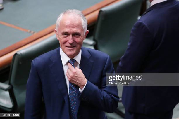 Prime Minister Malcolm Turnbull arrives to listen to Opposition Leader Bill Shorten deliver his budget reply address in the House of Representatives...