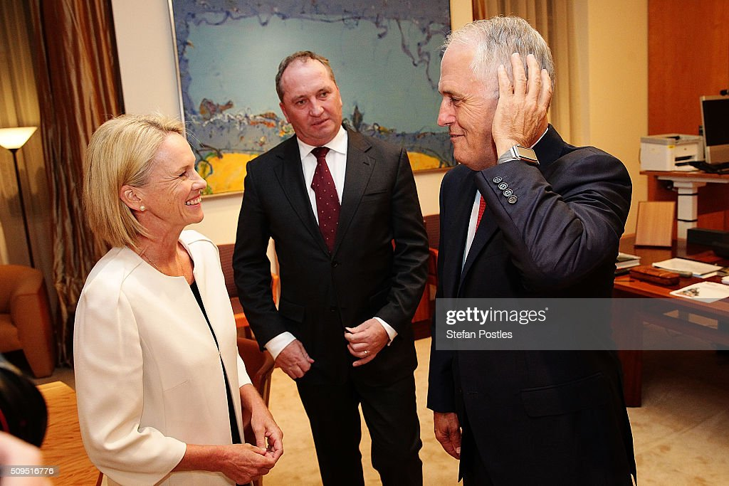 Prime Minister <a gi-track='captionPersonalityLinkClicked' href=/galleries/search?phrase=Malcolm+Turnbull&family=editorial&specificpeople=2125595 ng-click='$event.stopPropagation()'>Malcolm Turnbull</a> congratulates the new Leader and Deputy Leader of the National Party at Parliament House on February 11, 2016 in Canberra, Australia. Warren Truss announced his retirement earlier on Thursday, triggering a leadership ballot.