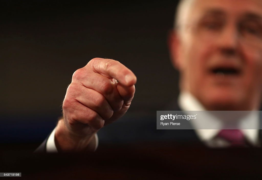 Prime Minister <a gi-track='captionPersonalityLinkClicked' href=/galleries/search?phrase=Malcolm+Turnbull&family=editorial&specificpeople=2125595 ng-click='$event.stopPropagation()'>Malcolm Turnbull</a> delivers his election address to the National Press Club on June 30, 2016 in Canberra, Australia. The Prime Minister's speech focused heavily on the economy, with <a gi-track='captionPersonalityLinkClicked' href=/galleries/search?phrase=Malcolm+Turnbull&family=editorial&specificpeople=2125595 ng-click='$event.stopPropagation()'>Malcolm Turnbull</a> committing to stick to the Government's economic plan, grow the economy and create jobs should he win the election on Saturday July 2.