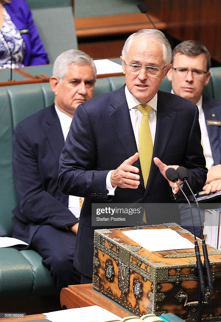Prime Minister <a gi-track='captionPersonalityLinkClicked' href=/galleries/search?phrase=Malcolm+Turnbull&family=editorial&specificpeople=2125595 ng-click='$event.stopPropagation()'>Malcolm Turnbull</a> delivers the Closing the Gap report card in the House of Representatives at Parliament House on February 10, 2016 in Canberra, Australia.