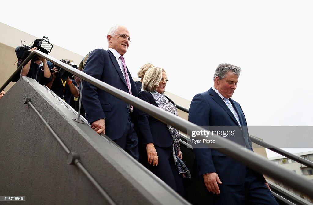 Prime Minister <a gi-track='captionPersonalityLinkClicked' href=/galleries/search?phrase=Malcolm+Turnbull&family=editorial&specificpeople=2125595 ng-click='$event.stopPropagation()'>Malcolm Turnbull</a> departs after delivering his election address to the National Press Club on June 30, 2016 in Canberra, Australia. The Prime Minister's speech focused heavily on the economy, with <a gi-track='captionPersonalityLinkClicked' href=/galleries/search?phrase=Malcolm+Turnbull&family=editorial&specificpeople=2125595 ng-click='$event.stopPropagation()'>Malcolm Turnbull</a> committing to stick to the Government's economic plan, grow the economy and create jobs should he win the election on Saturday July 2.