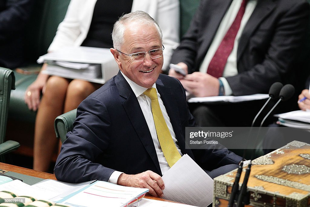 Prime Minister <a gi-track='captionPersonalityLinkClicked' href=/galleries/search?phrase=Malcolm+Turnbull&family=editorial&specificpeople=2125595 ng-click='$event.stopPropagation()'>Malcolm Turnbull</a> during House of Representatives question time at Parliament House on February 10, 2016 in Canberra, Australia.