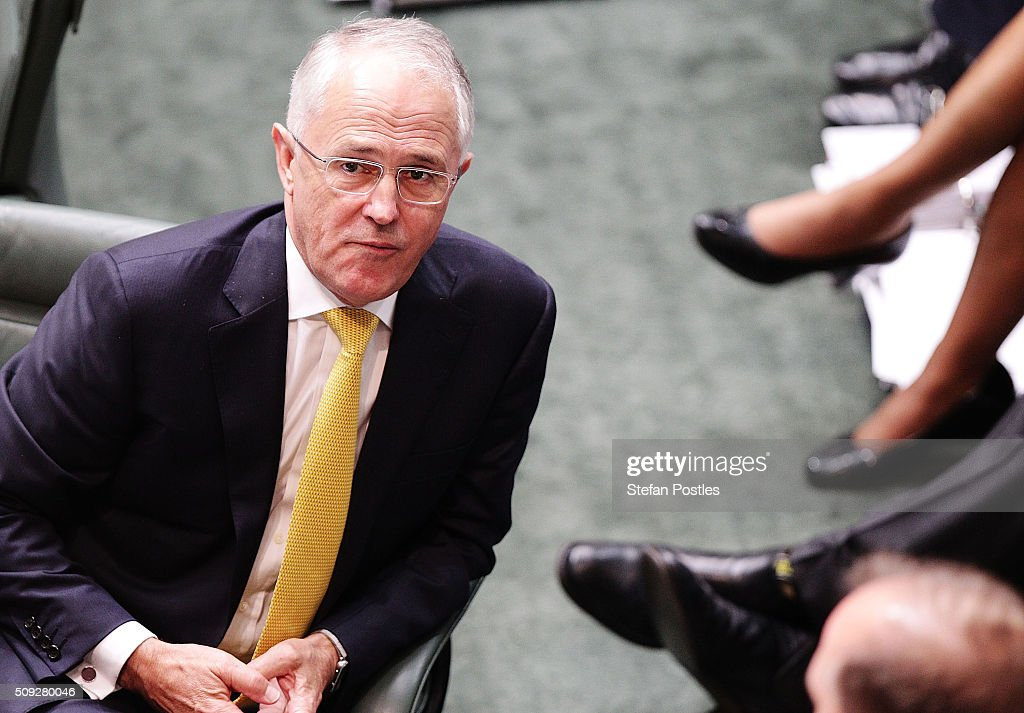 Prime Minister Malcolm Turnbull during House of Representatives question time at Parliament House on February 10, 2016 in Canberra, Australia.