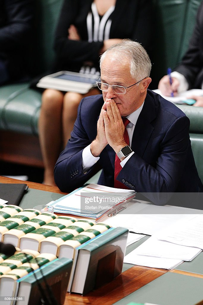 Prime Minister <a gi-track='captionPersonalityLinkClicked' href=/galleries/search?phrase=Malcolm+Turnbull&family=editorial&specificpeople=2125595 ng-click='$event.stopPropagation()'>Malcolm Turnbull</a> during House of Representatives question time at Parliament House on February 11, 2016 in Canberra, Australia. Nationals Leader and Deputy Prime Minister Warren Truss and Trade Minister Andrew Robb will retire at the next election.