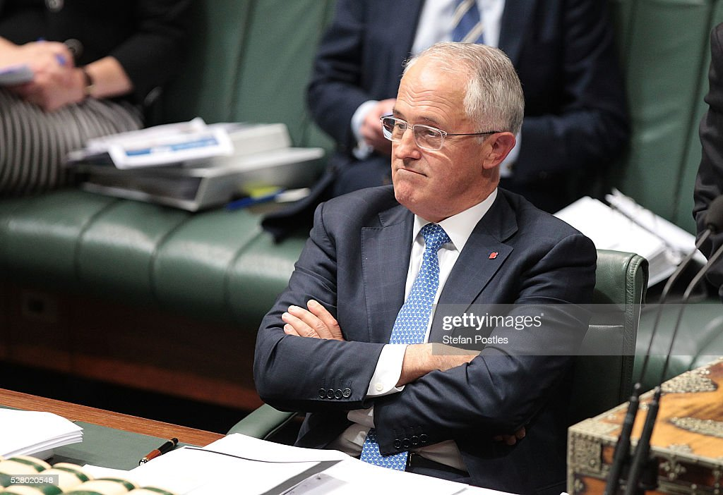 Prime Minister <a gi-track='captionPersonalityLinkClicked' href=/galleries/search?phrase=Malcolm+Turnbull&family=editorial&specificpeople=2125595 ng-click='$event.stopPropagation()'>Malcolm Turnbull</a> during House of Representatives question time at Parliament House on May 4, 2016 in Canberra, Australia. The Turnbull Goverment's first budget has delivered tax cuts for small and medium businesses, income tax cuts people earning over $80,000 a year,new measures to help young Australians into jobs and cutbacks to superannuation concessions for the wealthy.