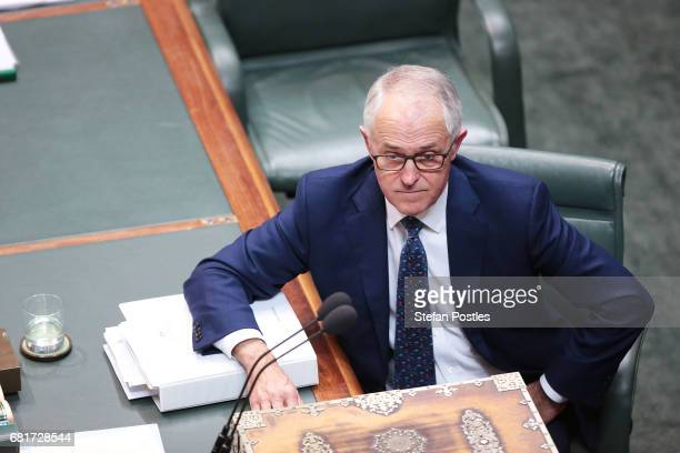 Prime Minister Malcolm Turnbull during House of Representatives question time at Parliament House on May 11 2017 in Canberra Australia The Turnbull...