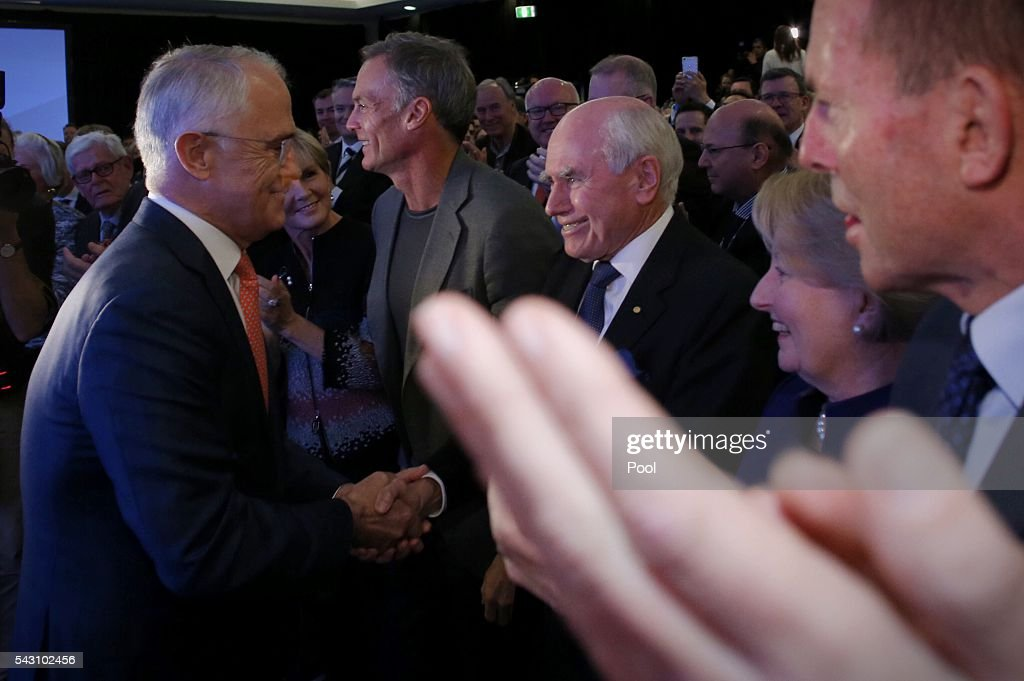 Prime Minister <a gi-track='captionPersonalityLinkClicked' href=/galleries/search?phrase=Malcolm+Turnbull&family=editorial&specificpeople=2125595 ng-click='$event.stopPropagation()'>Malcolm Turnbull</a> greeted <a gi-track='captionPersonalityLinkClicked' href=/galleries/search?phrase=John+Howard+-+Politician&family=editorial&specificpeople=12204326 ng-click='$event.stopPropagation()'>John Howard</a> before he addressed the Coalition national campaign rally on June 26, 2016 in Sydney, Australia.