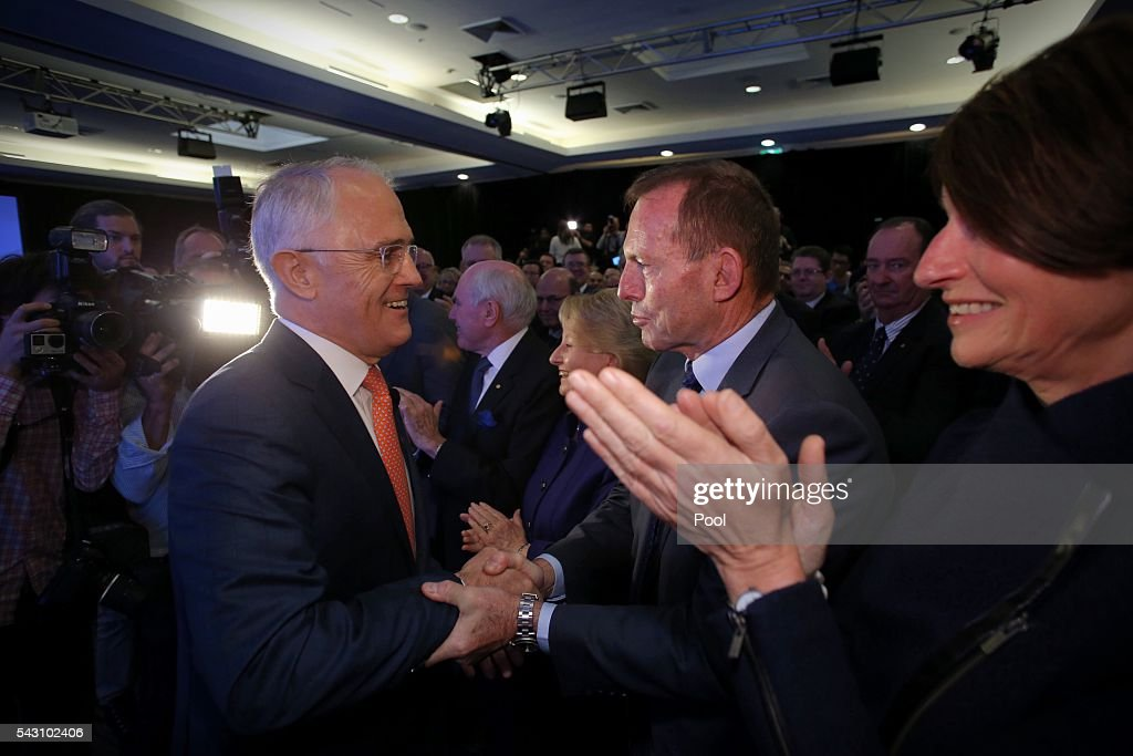 Prime Minister <a gi-track='captionPersonalityLinkClicked' href=/galleries/search?phrase=Malcolm+Turnbull&family=editorial&specificpeople=2125595 ng-click='$event.stopPropagation()'>Malcolm Turnbull</a> greeted <a gi-track='captionPersonalityLinkClicked' href=/galleries/search?phrase=Tony+Abbott&family=editorial&specificpeople=220956 ng-click='$event.stopPropagation()'>Tony Abbott</a> before he speaking at the Liberal Party 2016 Federal Campaign Launch on June 26, 2016 in Sydney, Australia.