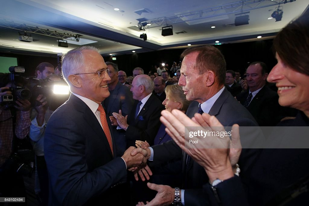 Prime Minister <a gi-track='captionPersonalityLinkClicked' href=/galleries/search?phrase=Malcolm+Turnbull&family=editorial&specificpeople=2125595 ng-click='$event.stopPropagation()'>Malcolm Turnbull</a> greeted <a gi-track='captionPersonalityLinkClicked' href=/galleries/search?phrase=Tony+Abbott&family=editorial&specificpeople=220956 ng-click='$event.stopPropagation()'>Tony Abbott</a> before he addressed the Coalition national campaign rally during the Liberal Party 2016 Federal Campaign Launch on June 26, 2016 in Sydney, Australia.