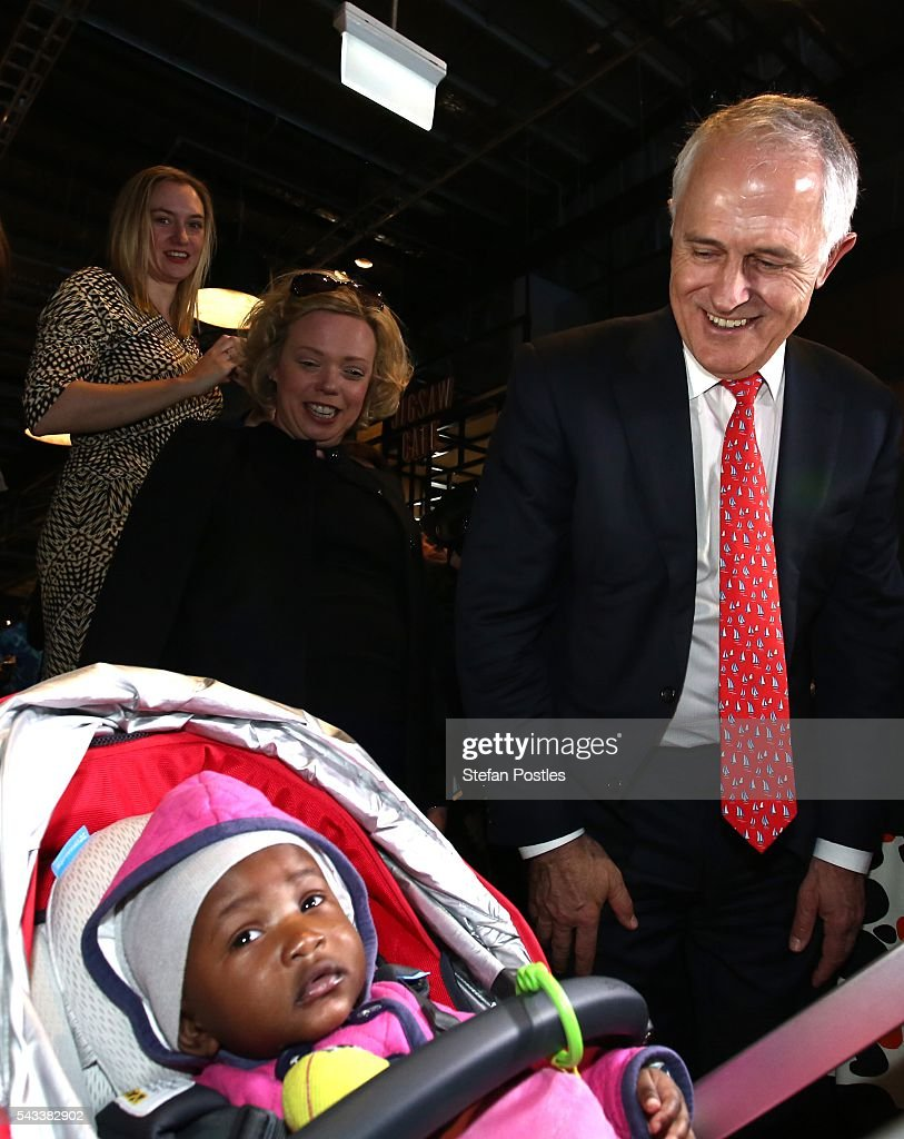 Prime Minister <a gi-track='captionPersonalityLinkClicked' href=/galleries/search?phrase=Malcolm+Turnbull&family=editorial&specificpeople=2125595 ng-click='$event.stopPropagation()'>Malcolm Turnbull</a> greets members of the public at Westfield North Lakes on June 28, 2016 in Brisbane, Australia. Treasurer Scott Morrison will release the Coalition's costings this afternoon.