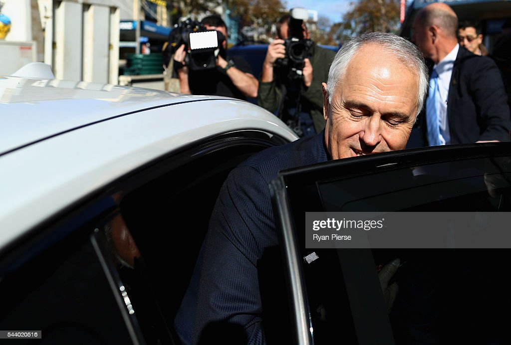Prime Minister <a gi-track='captionPersonalityLinkClicked' href=/galleries/search?phrase=Malcolm+Turnbull&family=editorial&specificpeople=2125595 ng-click='$event.stopPropagation()'>Malcolm Turnbull</a> leaves after meeting voters in Burwood as he campaigns in the electorate of Reid on July 1, 2016 in Sydney, Australia.